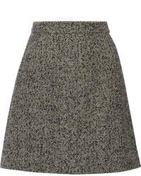 Minigonna di tweed grigio scuro