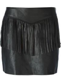 Minigonna in pelle con frange nera di Saint Laurent
