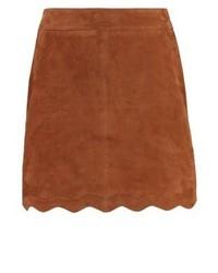 Minigonna in pelle marrone di Kookai