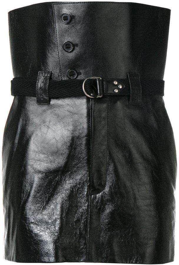 Minigonna in pelle nera di Saint Laurent