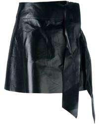 Minigonna in pelle nera di Valentino