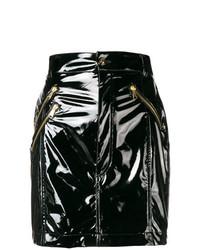Minigonna in pelle nera di Versace Jeans