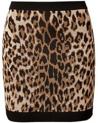 Minigonna leopardata marrone chiaro