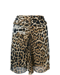 Minigonna leopardata marrone chiaro di Saint Laurent
