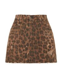 Minigonna leopardata marrone di R13