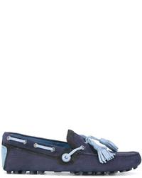 Mocassini con nappine in pelle scamosciata blu scuro di Dolce & Gabbana