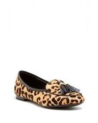 Mocassini con nappine in pelle scamosciata leopardati marrone chiaro