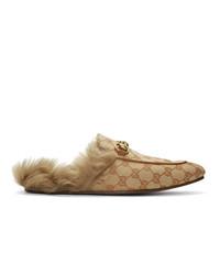 Mocassini eleganti di tela stampati marrone chiaro di Gucci