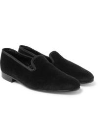 Mocassini eleganti di velluto neri di George Cleverley