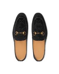 Mocassini eleganti di velluto neri di Gucci