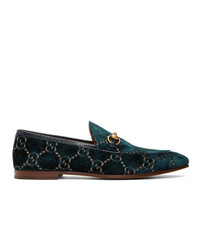 Mocassini eleganti di velluto stampati blu scuro di Gucci