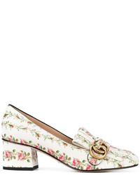 Mocassini eleganti in pelle a fiori bianchi di Gucci