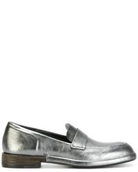 Mocassini eleganti in pelle argento