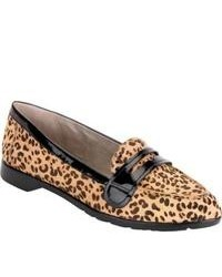 Mocassini eleganti in pelle leopardati marrone chiaro