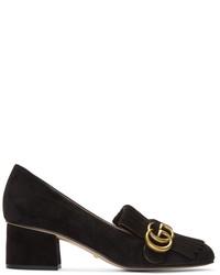 Mocassini eleganti in pelle scamosciata neri di Gucci
