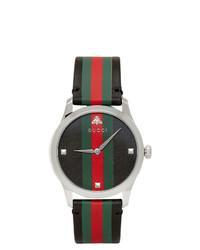 Orologio in pelle a righe orizzontali nero di Gucci