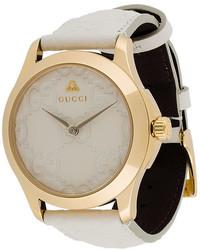 Orologio in pelle bianco di Gucci