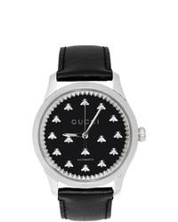 Orologio in pelle nero di Gucci