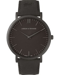 Orologio in pelle nero di Larsson & Jennings