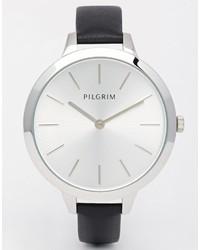 Orologio in pelle nero di Pilgrim
