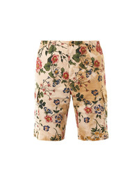Pantaloncini a fiori beige