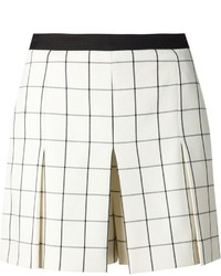Pantaloncini a quadri beige