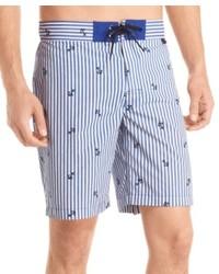 Pantaloncini a righe verticali azzurri