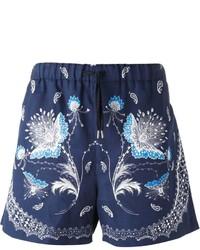 Pantaloncini con stampa cachemire blu scuro di Alexander McQueen