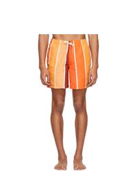 Pantaloncini da bagno a righe verticali arancioni di Bather