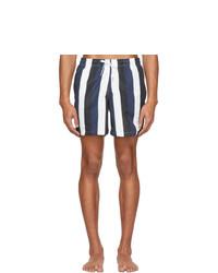 Pantaloncini da bagno a righe verticali blu scuro e bianchi di Bather
