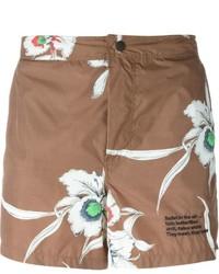 Pantaloncini da bagno stampati marroni di Valentino