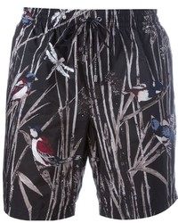 Pantaloncini da bagno stampati neri di Dolce & Gabbana