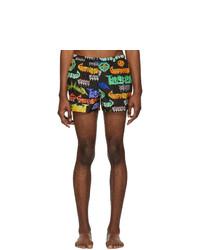 Pantaloncini da bagno stampati neri di Gucci