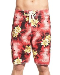 Pantaloncini da bagno stampati rossi