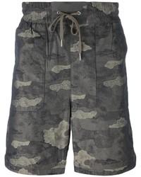 Pantaloncini di cotone stampati grigio scuro di Helmut Lang