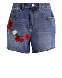 Pantaloncini di jeans a fiori blu di LOST INK