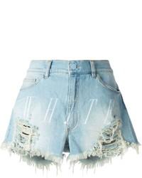 Pantaloncini di jeans strappati azzurri
