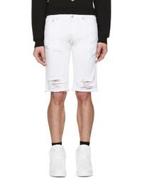 Pantaloncini di jeans strappati bianchi