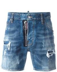 Pantaloncini di jeans strappati blu