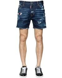 Pantaloncini di jeans strappati blu scuro