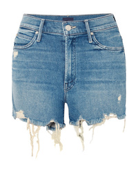 Pantaloncini di jeans strappati blu di Mother