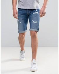 Pantaloncini di jeans strappati blu di Pepe Jeans
