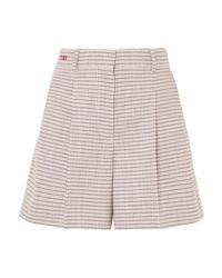 Pantaloncini di lana a quadri rosa di Fendi