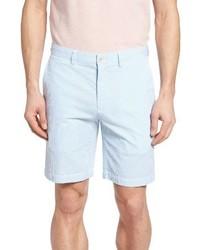 Pantaloncini di seersucker a righe verticali azzurri