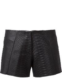 Pantaloncini di seta con stampa serpente neri di Simona Tagliaferri