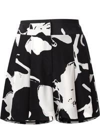 Pantaloncini di seta stampati neri di Halston
