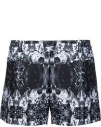 Pantaloncini di seta stampati neri di Thomas Wylde
