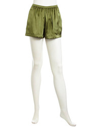 Pantaloncini di seta verde oliva