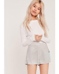 Pantaloncini in pelle scamosciata grigi