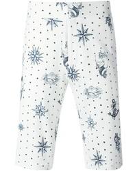 Pantaloncini stampati bianchi e blu di Alexander McQueen